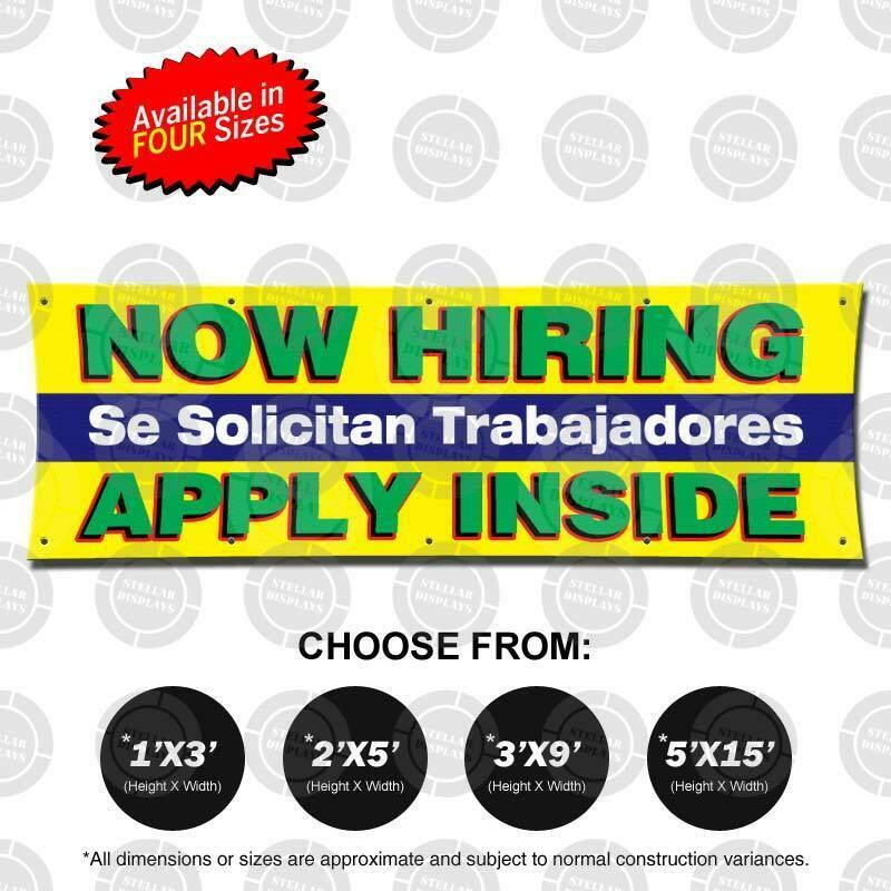 NOW HIRING Trabajadores Banner Now Open Jobs Poster Business Display Employment 1