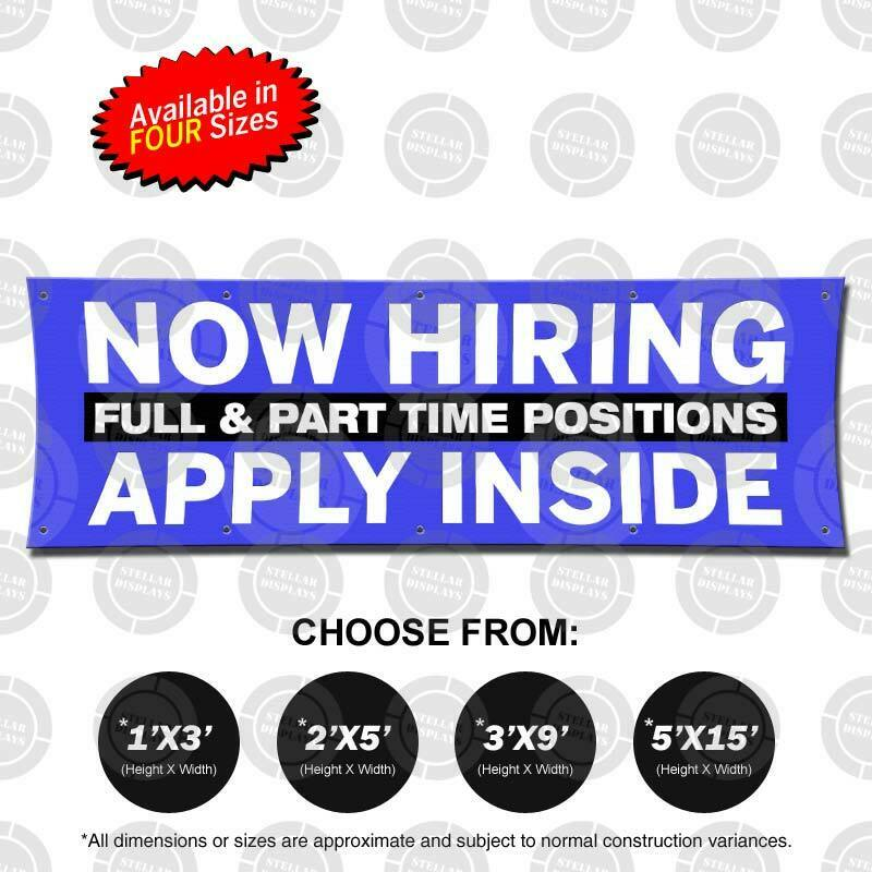 NOW HIRING APPLY INSIDE Banner Now Open Jobs Poster Business Display Employment 1