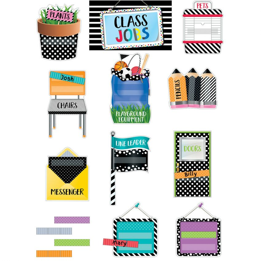CTP 2184 Bold and Bright Class Jobs Bulletin Board Classroom Decorations 1